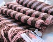 Handwoven Scarf- Light Pink and Brown Stripes