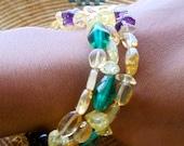 Beaded Memory Wire Strech Bracelet- Citrine and Glass