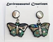 UNIQUE HANDMADE EARRINGS Stone and Shell  / Butterfly