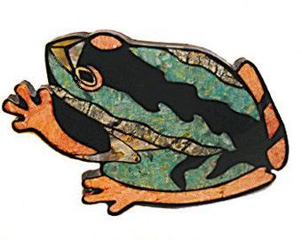 ARTISTIC HANDMADE BARRETTE  Toad Stone & Shell Hair Clip