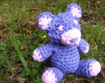 Purple Amigurumi Crochet Plush Bear