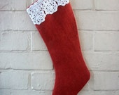 Red Burlap Holiday Stocking with a Vintage Crocheted Trim in White Cotton
