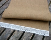 Burlap/Hessian Table Runner with Vintage White Lace Trim