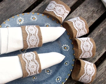 Burlap Napkin Rings with White Vintage Lace - set of six