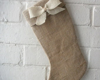 Christmas Stocking in Natural Burlap with a Bow in Ivory