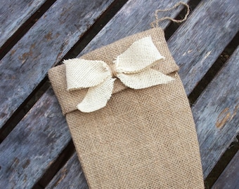 Holiday  Stocking in Natural  Burlap with a Bow in Ivory - extra large