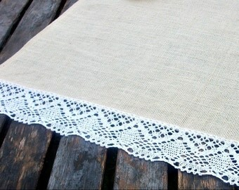 Table Runner Cream Burlap/Hessian with  White Cotton Lace Trim