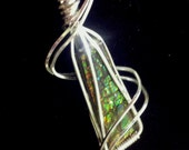 ELEGANT, IRIDESCENT AMMOLITE / Ammonite Color Changing Fossil Stone Pendant Wrapped in 925 Sterling Silver Wire