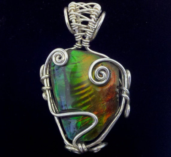PARROT SALE 25% Off- IRIDESCENT Ammolite / Ammonite Color-Changing Fossil Stone Pendant Wrapped in 925 Sterling Silver Wire