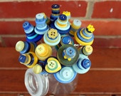 Yellow and Blue Button Flowers Bouquet -  with mini milk bottle vase