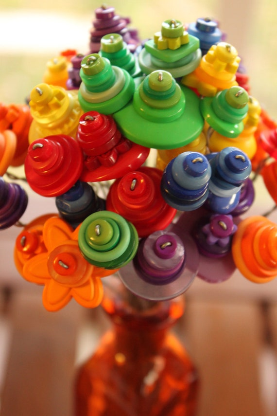 Button Flower Bouquet - Rainbow Colors Button Flowers with Orange Vase