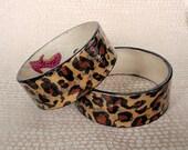 Leopard Print Decoupage Bracelet / Bangle / Cuff - pair of two
