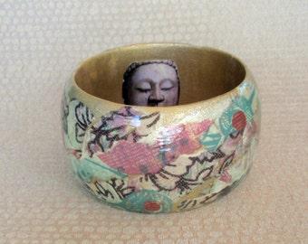 Asian Buddha Wooden Decoupage Bracelet / Bangle / Cuff