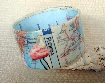 Florida Map/Roseate Spoonbill Decoupage Bracelet / Bangle / Cuff