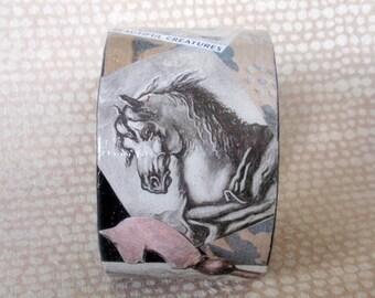 Renaissance Equine Decoupage Bracelet / Bangle / Cuff