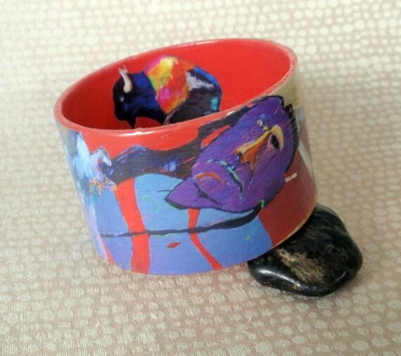 Native American Art Decoupage Bracelet / Bangle / Cuff