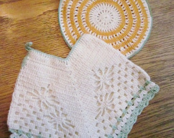 Set of Two Hand Crocheted Vintage Potholders