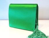 80s Vintage EMERALD Green Satin TASSEL Bag Purse SAKS