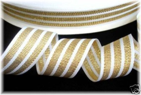 7/8 Gold Metallic Shimmer and White Tri Stripe Grosgrain Ribbon 3yds.