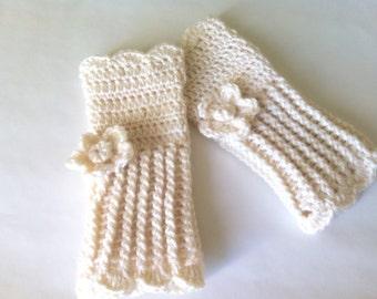 Crochet wrist warmer fingerless gloves, customized long fingerless gloves in Ivory color