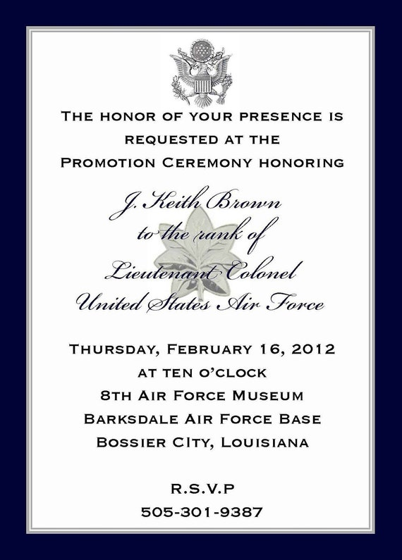 custom listing j  k  brown  military promotion invitations and