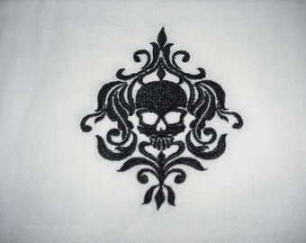 Black Damask Style Skull Halloween Flour Sack Towel, machine embroidered.