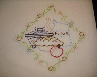 Vintage style flour sack towel pie. Machine embroidered.