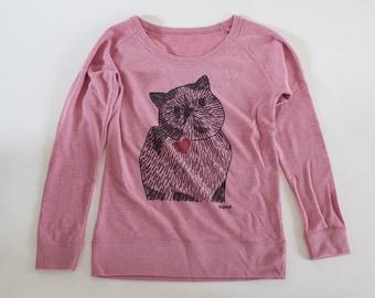 Meme drawing sweatshirt - salmon pink -  Ladies M