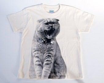 SALE - Printed T-shirt for kids - gaping cat Fuku - natural - 140cm