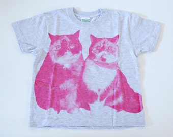 SALE - Printed T-shirt for kids - Lovely cats - gray - 120cm