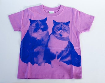 SALE - Printed T-shirt for kids - Lovely cats - lavender - 120cm