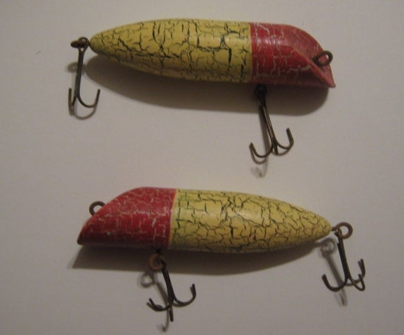 Set Of 2 Antique Wooden Fishing Lures For Assemblade Doll Arms