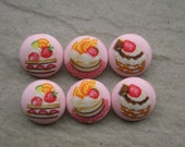 "Six 1""  (or 25mm) fabric buttons - strawberry sundae on pink"