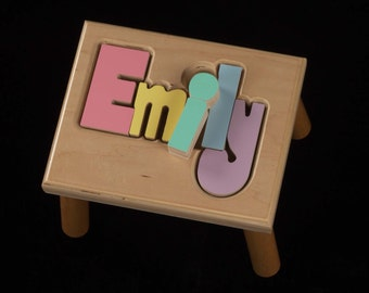 Free Shipping Maple Flip Name Puzzle Stool By Hollowwoodworks