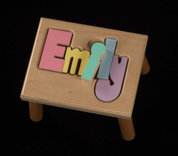 Free Shipping Maple Name Puzzle Stool Baby Gift By