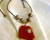 Large agate pendant necklace with large silver beads