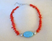 Red coral and turquoise necklace is a perfect gift for any season.