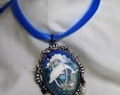 Majestic Dolphin Cameo Pendant Choker Necklace -  Blue Velvet Ribbon - Victorian Sea Fantasy