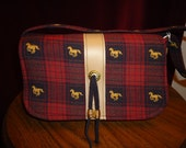 Small Red & Black Plaid Purse with Gold Horses Vinyl, Gold Bead, Suede