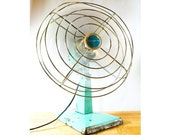 Vintage Turquoise Aqua Eskimo Electric Oscillating Fan by McGraw-Edison