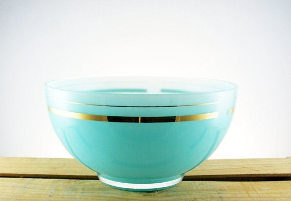 Vintage Aqua Turquoise Blendo Bowl with 22K Gold Rings