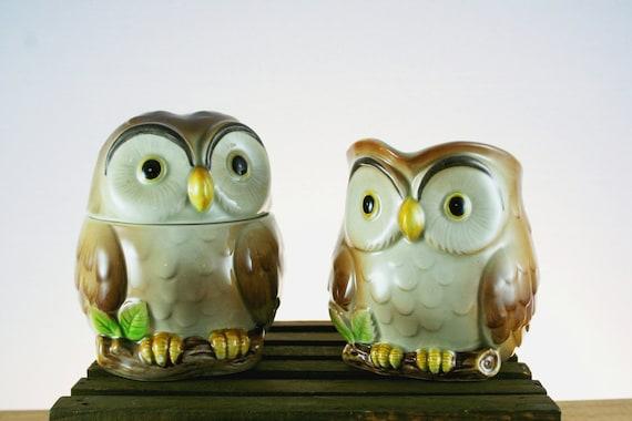 Vintage Otagiri Owl Cream and Sugar Set from 1981