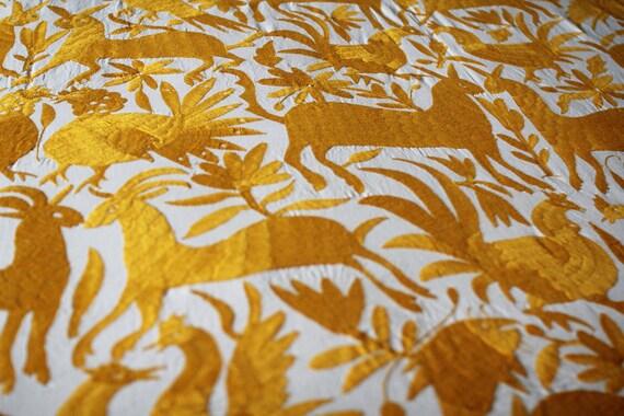 Hand embroidered otomi fabric yellow animal bird plant