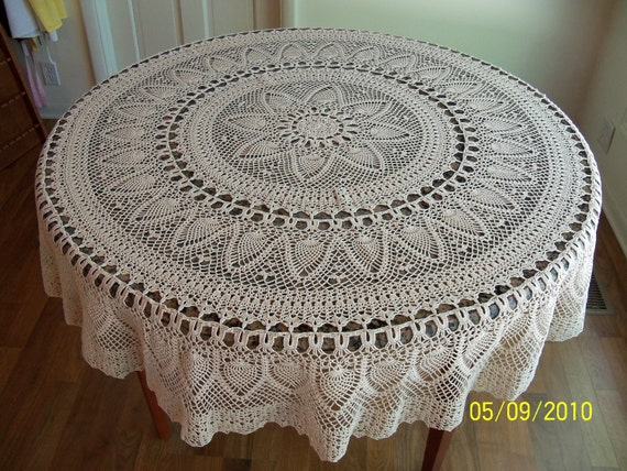 Handmade Crocheted Pineapple Tablecloth 70 inch Round Natural Off White