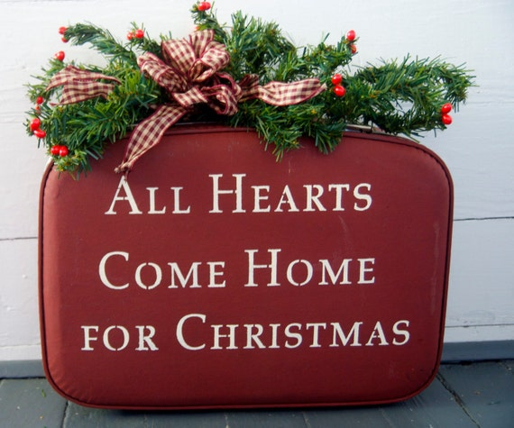 Exclusive for J. Mills- Vintage Christmas Suitcase- All Hearts Come Home for Christmas