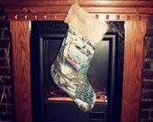 Icy Winter Christmas stocking - handmade