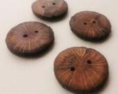 """Handmade Wooden Buttons - Oak (4 pk) - 1 1/2"""" Diameter x 3/16"""" Thick"""