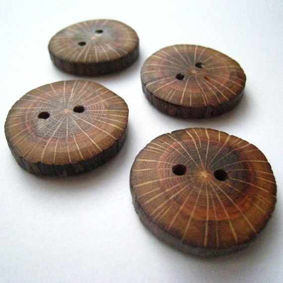 "Handmade Wooden Buttons - Oak (8 pk) - 1 1/8"" Diameter x 3/16"" Thick"