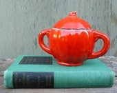 1970s Glazed Pottery with Handle and Lid in Bright Orange