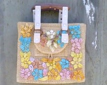 1970s Woven Handbag with Flowers and Wood Handles